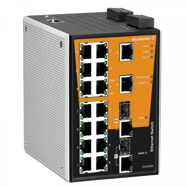 Weidmüller Switch Fast Ethernet+Gigabit Uplink IE-SW-PL-18M-2GC-16TX
